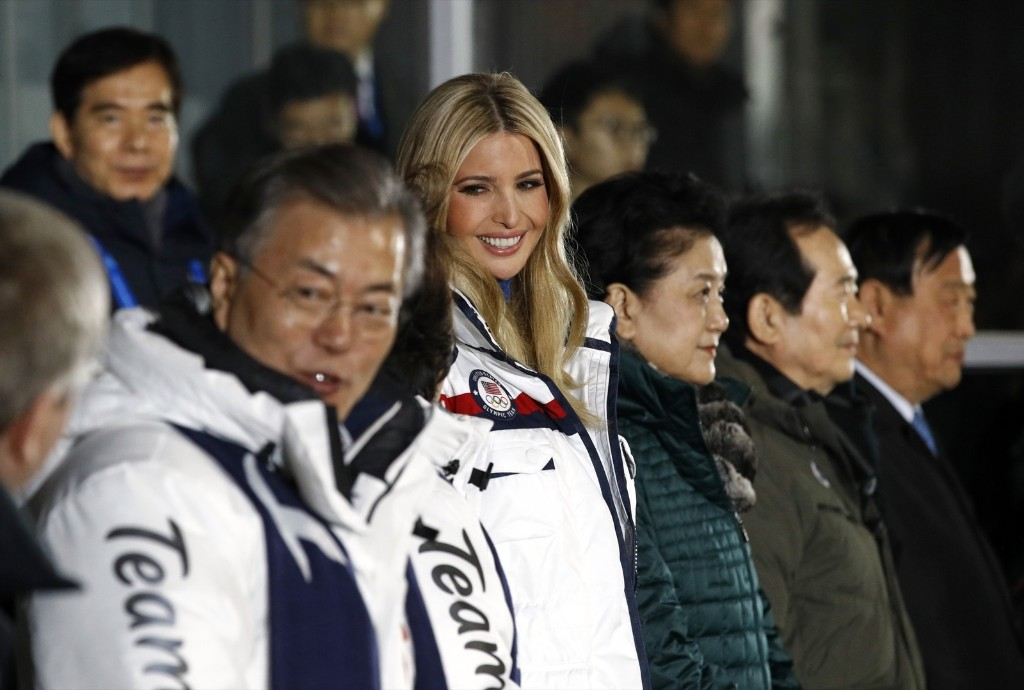 South Korea's President Moon Jae-in and Ivanka Trump attend the closing ceremony. PATRICK SEMANSKY/AFP/Getty Images