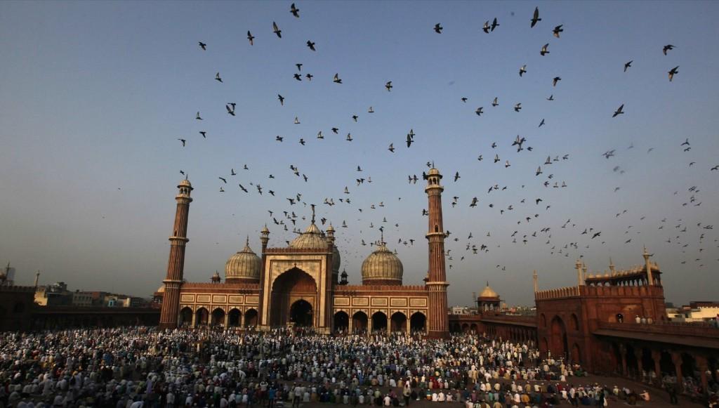 Indian Muslims at Jama Masjid in New Delhi. Raj K Raj/Hindustan Times/Getty Images