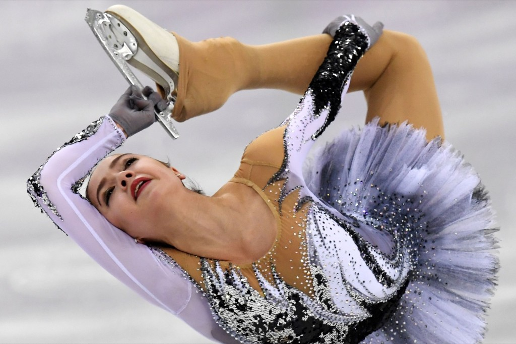 Russia's Alina Zagitova during her world record performance in the women's short program. KIRILL KUDRYAVTSEV/AFP/Getty Images