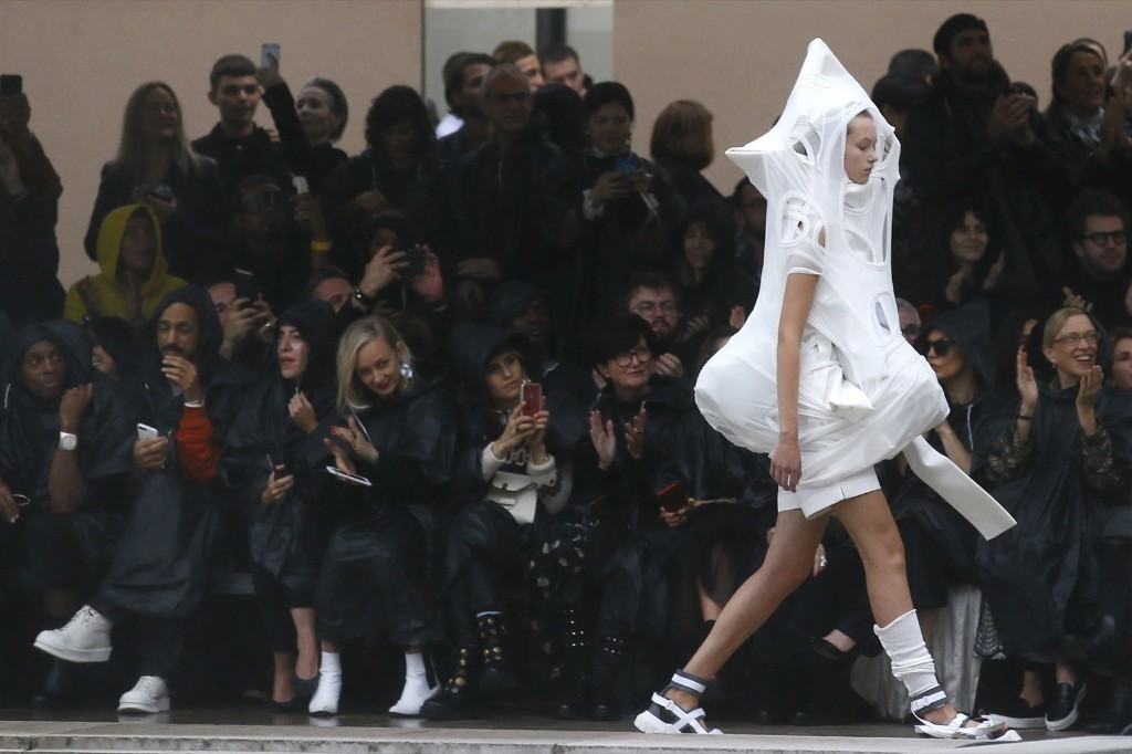 A model wears a creation for the Rick Owens Spring/Summer 2018 ready-to-wear fashion collection. AP Photo/Francois Mori