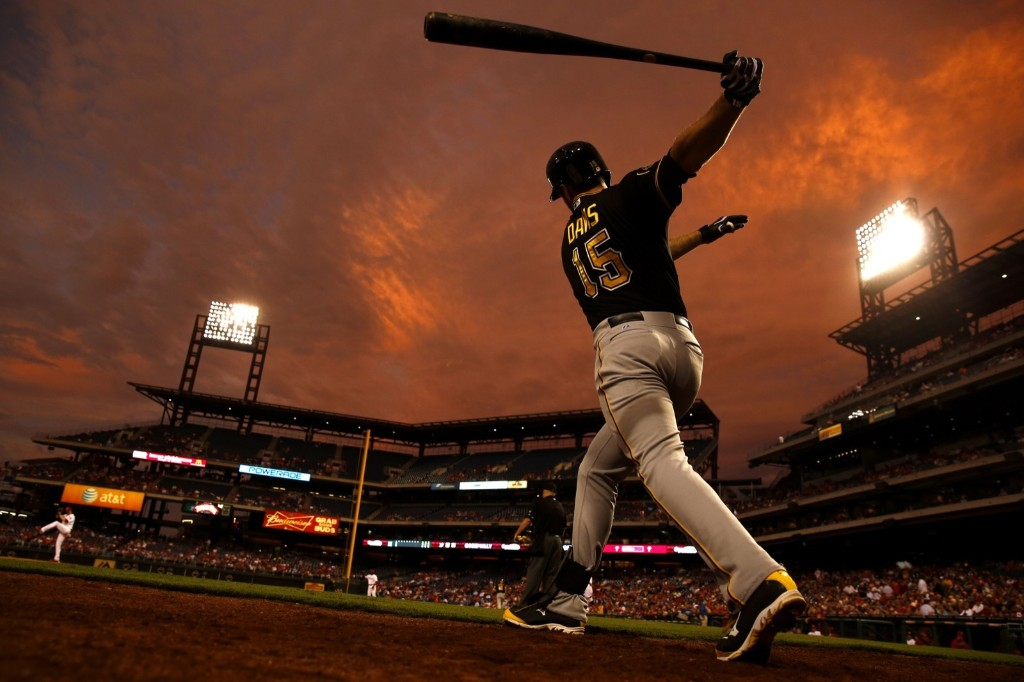 The Pirates Ike Davis warms up during game against the Phillies. AP Photo/Matt Slocum