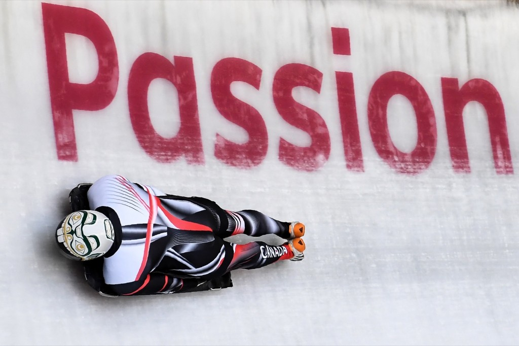 Canada's Kevin Boyer takes part in a training session for men's skeleton at the Olympic Sliding Centre. KIRILL KUDRYAVTSEV/AFP/Getty Images