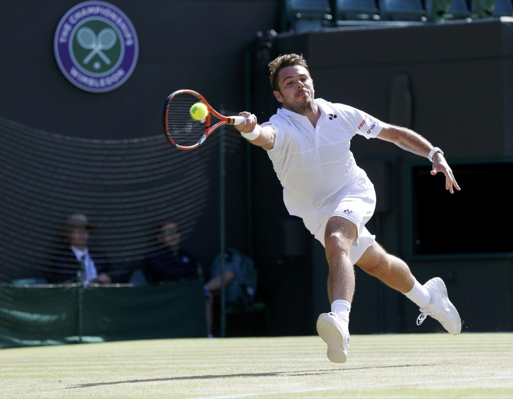 Stan Wawrinka during his victory over David Goffin. REUTERS/Suzanne Plunkett