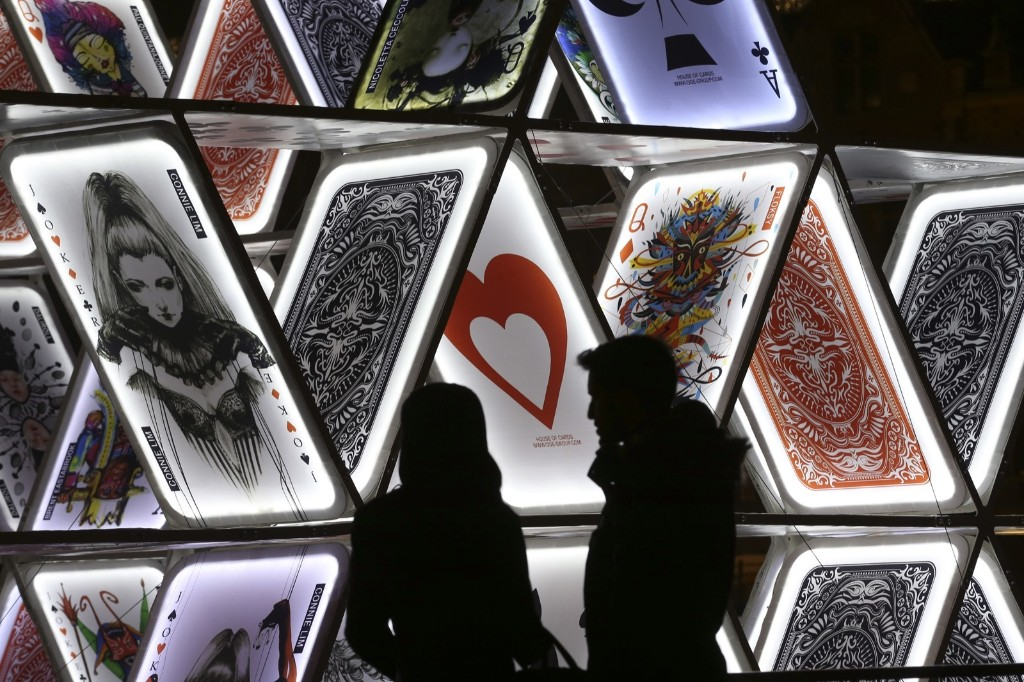 "A light sculpture called, ""House of Cards,"" by OGE Creative Group, from Israel, near Central Station in Amsterdam. AP Photo/Peter Dejong"