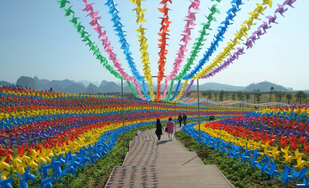 Colorful windmills rotate in the wind in Laibin, Guangxi Zhuang Autonomous Region of China. VCG via Getty Images