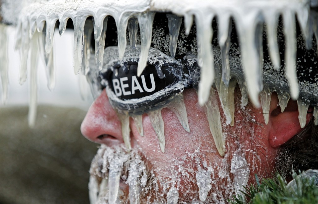 Packer fan Jeff Kahlow at Lambeau Field where they know how to deal with snow and ice. AP Photo/Mike Roemer