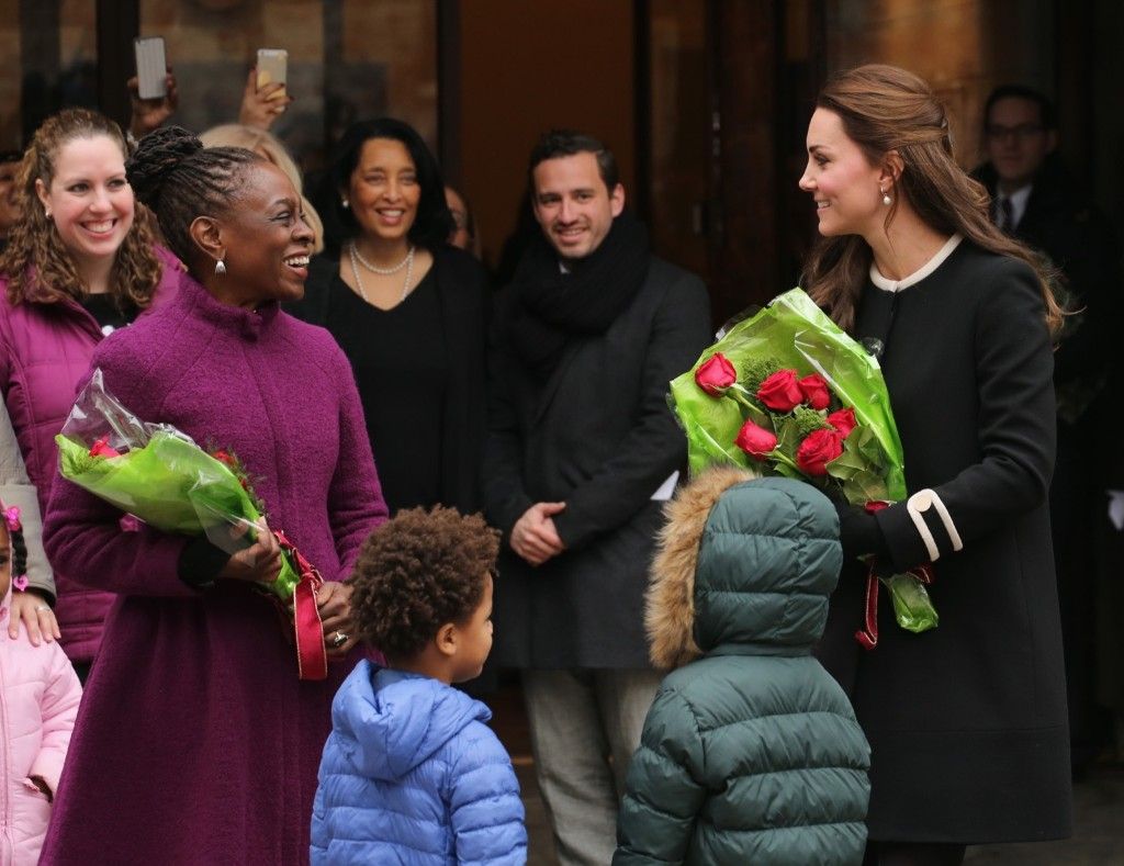 Kate, Duchess of Cambridge and New York City Mayor Bill de Blasio's wife Chirlane McCray greet guests at the Northside Center for Child Development, Monday in New York. Neilson Barnard/Getty Images