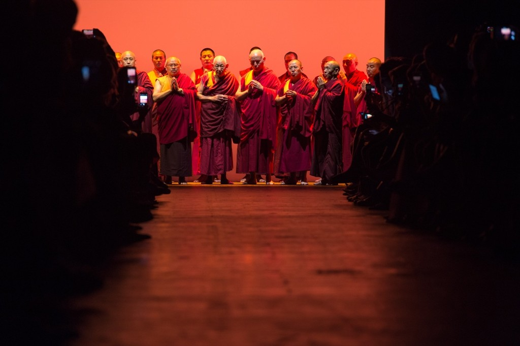 Buddhist monks perform before the Prabal Gurung Spring 2016 collection. AP Photo/Bryan R. Smith