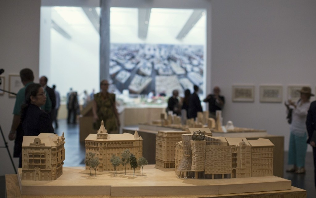 "A scale model of the Nationale-Nederlanden Building is on display during a press preview of the exhibit ""Frank Gehry"" at the Los Angeles County Museum of Art, Sept. 2015. REUTERS/Mario Anzuoni"