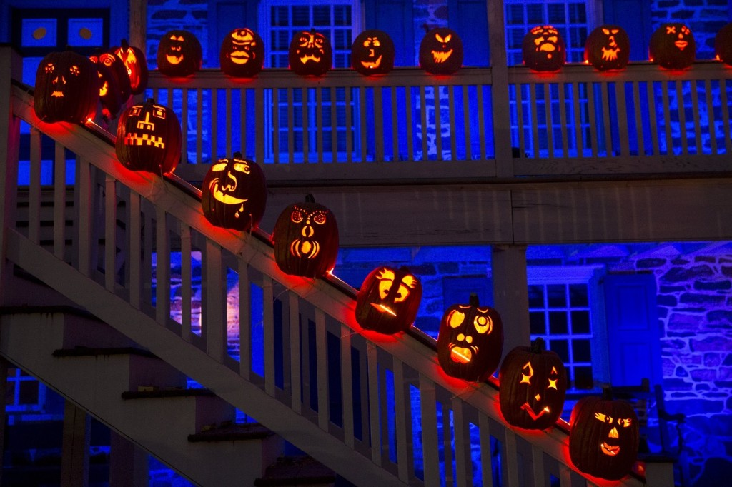 Pumpkin Jack O' Lanterns on the stair railings of the historic Van Cortlandt Manor House and Museum in Croton-on Hudson, NY. REUTERS/Mike Segar