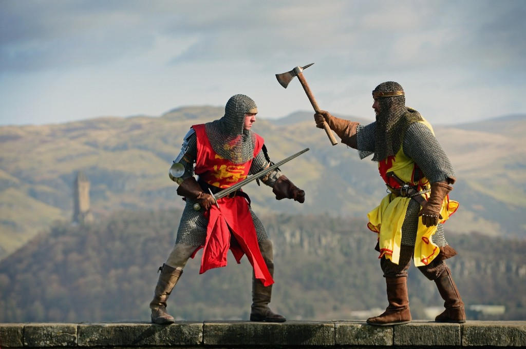 Roy Ramsay, as King Robert the Bruce, and Roy Murray, as Edward II, promote Bannockburn Live in Stirling, Scotland. The event commemorates the 700th anniversary of the Battle of Bannockburn. Jeff J Mitchell/Getty Images