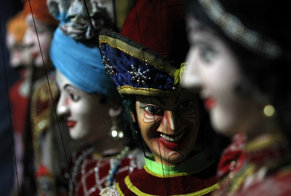 Traditional Sri Lankan puppets belonging to puppeteer Premin in Colombo. REUTERS/Dinuka Liyanawatte
