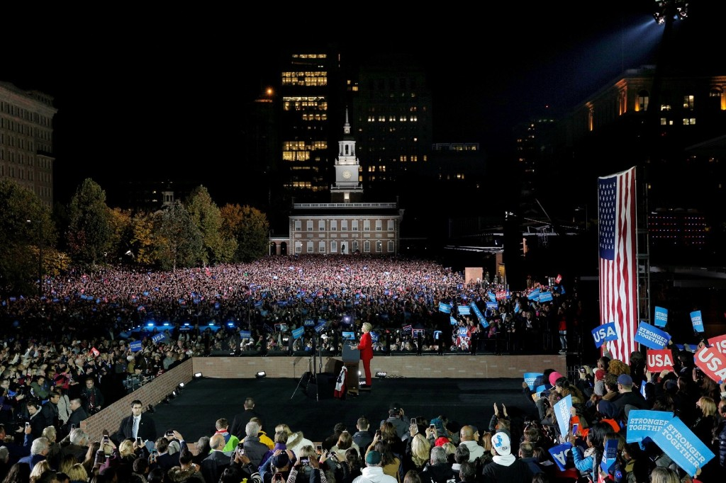 Hillary Clinton speaks at a campaign rally with President Obama on Independence Mall in Philadelphia. REUTERS/Brian Snyder