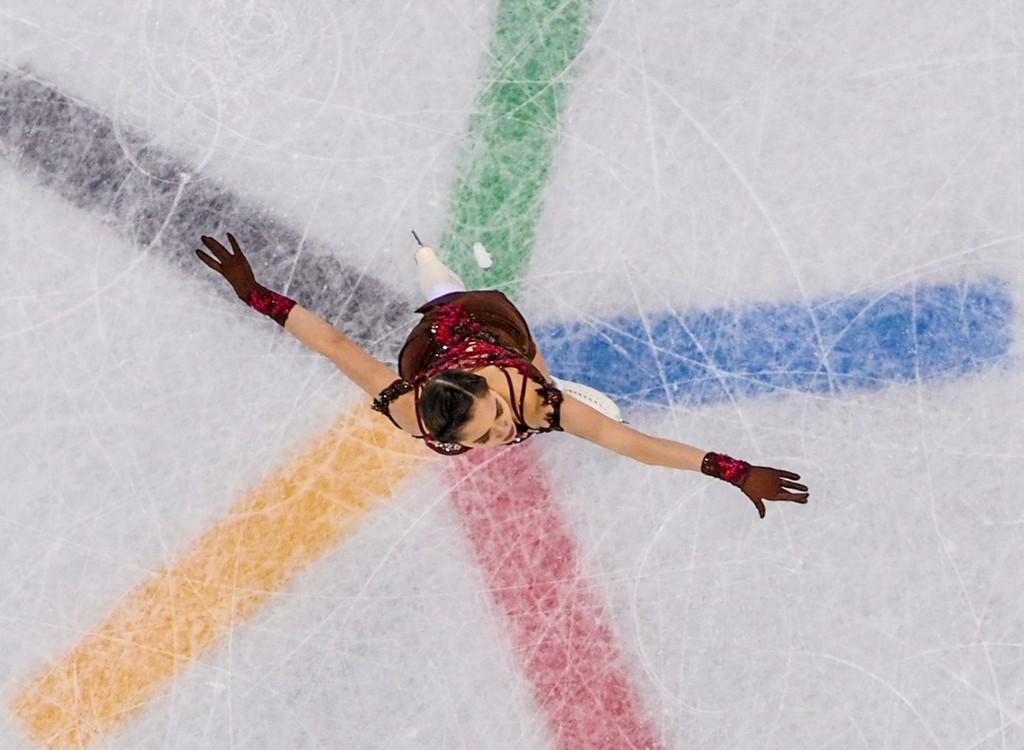 Russia's Evgenia Medvedeva taking silver in women's figure skating. MLADEN ANTONOV/AFP/Getty Images