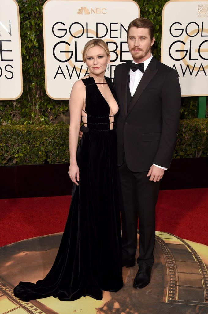 Kirsten Dunst and Garrett Hedlund attend the 73rd Annual Golden Globe Awards. Jason Merritt/Getty Images