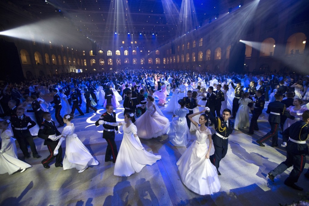 Students of military schools perform during the annual ball in Moscow. AP Photo/Alexander Zemlianichenko