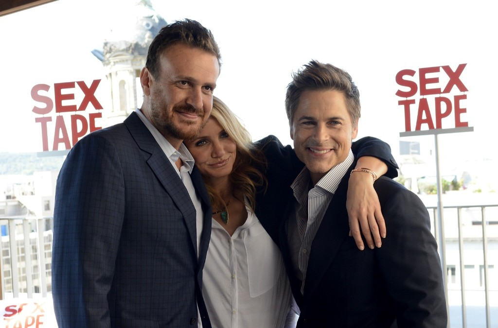 Jason Segel, Cameron Diaz and Rob Lowe at a photocall for the film 'Sex Tape' at the Hotel Mandarin in Barcelona. Robert Marquardt/Getty Images