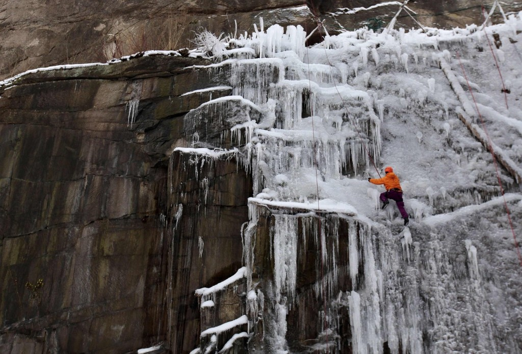 A man climbs an artificial wall of ice in Liberec, Czech Republic. REUTERS/David W Cerny