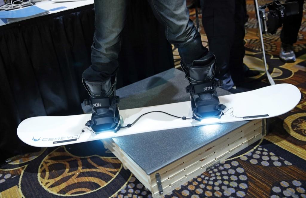 The Cerevo XON Snow-1 snowboard bindings which have pressure sensors to analyze your snowboarding technique. AP Photo/John Locher