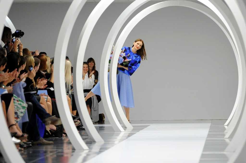 Designer Roksanda Ilincic at the end of the runway after her show. Stuart C. Wilson/Getty Images