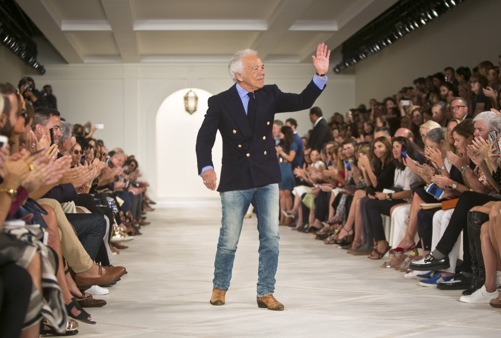 Ralph Lauren appears on the runway after showing his Spring 2016 collection. AP Photo/Bebeto Matthews