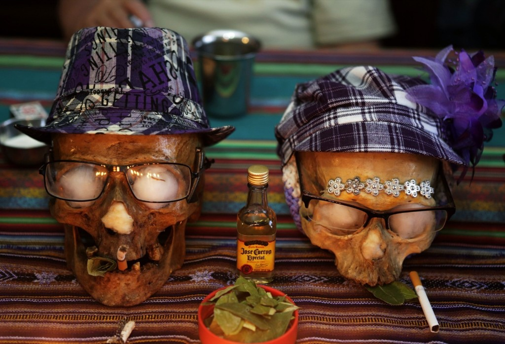 "Skulls of Paulino and Juanita day before the ""Dia de los natitas"" (Day of the Skull) celebrations at the General Cemetery of La Paz. REUTERS/David Mercado"