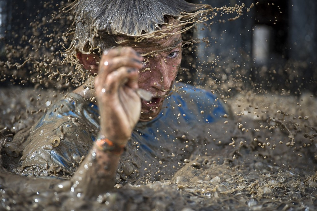 A competitor in the Tough Mudder London South event in Winchester, England. Justin Setterfield/Getty Images