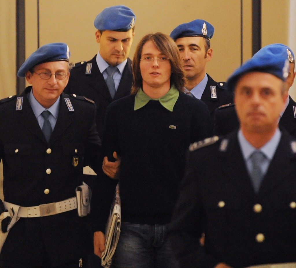 Raffaele Sollecito leaves a court hearing in Perugia on Sept. 27, 2008. TIZIANA FABI/AFP/Getty Images