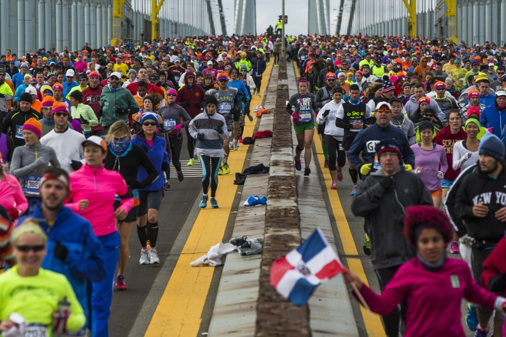 Runners cross the Verrazano-Narrows Bridge. REUTERS/Lucas Jackson