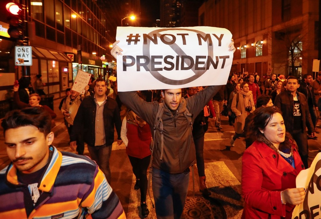 A protest against President-elect Donald Trump in Chicago. REUTERS/Kamil Krzacznski