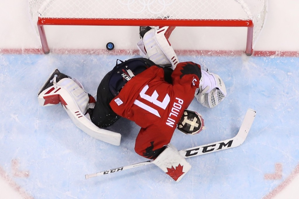 Kevin Poulin, Canada's goalie, after a goal by Germany's Frank Mauer in the second period. Jamie Squire/Getty Images