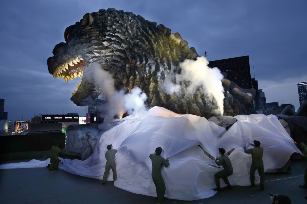 Godzilla has stomped so many buildings in Japan that the irradiated monster is being appointed special resident and tourism ambassador in Tokyo's Shinjuku ward. AP Photo/Shizuo Kambayashi