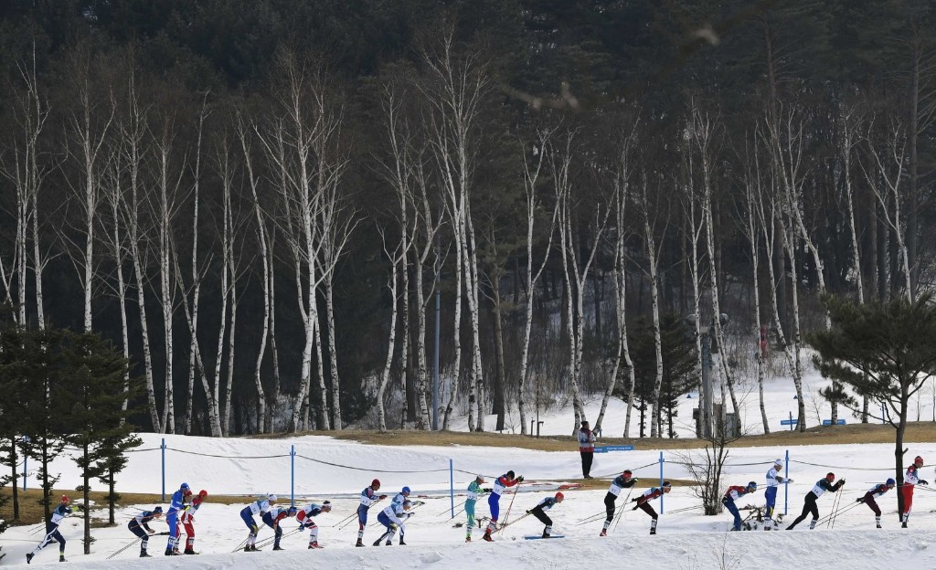 The men's 50km cross country race at the Alpensia Cross-Country Skiing Centre. REUTERS/Toby Melville