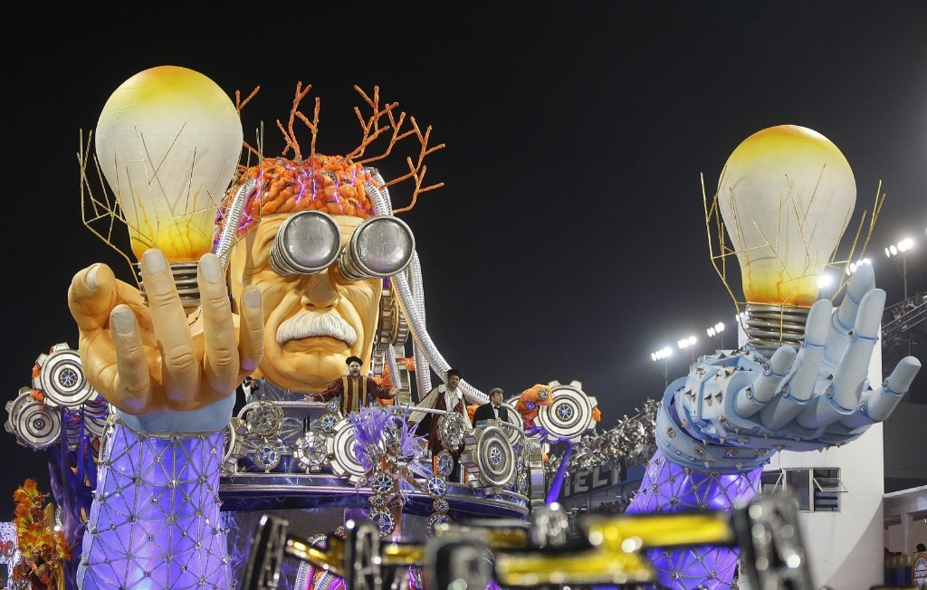 A dancer from the Gavioes da Fiel samba school during a carnival parade in Sao Paulo. AP Photo/Andre Penner