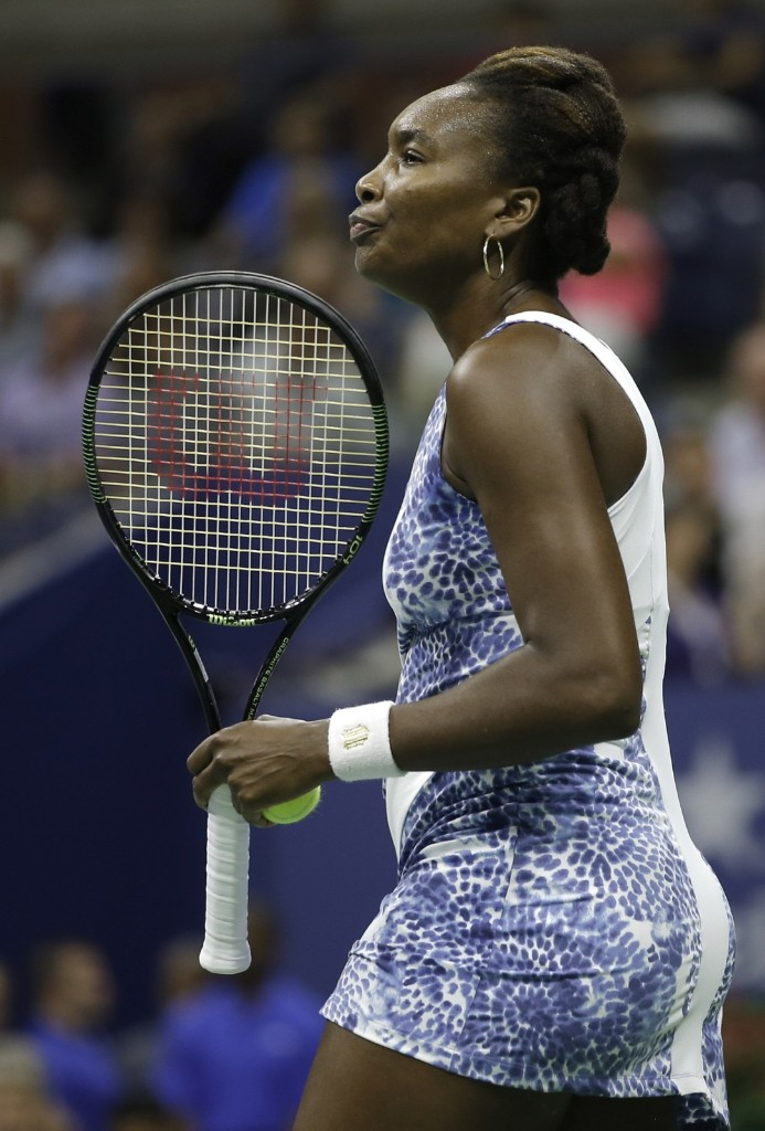 Venus Williams of the U.S. after missing a point to her sister Serena Williams at the U.S. Open tennis tournament in New York, Tuesday. Gary Hershorn/Corbis