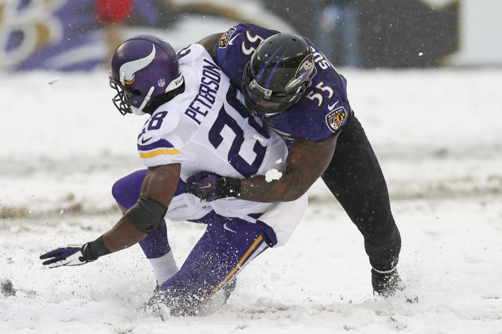 Vikings running back Adrian Peterson tackled by Ravens linebacker Terrell Suggs. Peterson later left game on cart with apparent ankle injury. Mitch Stringer-USA TODAY Sports