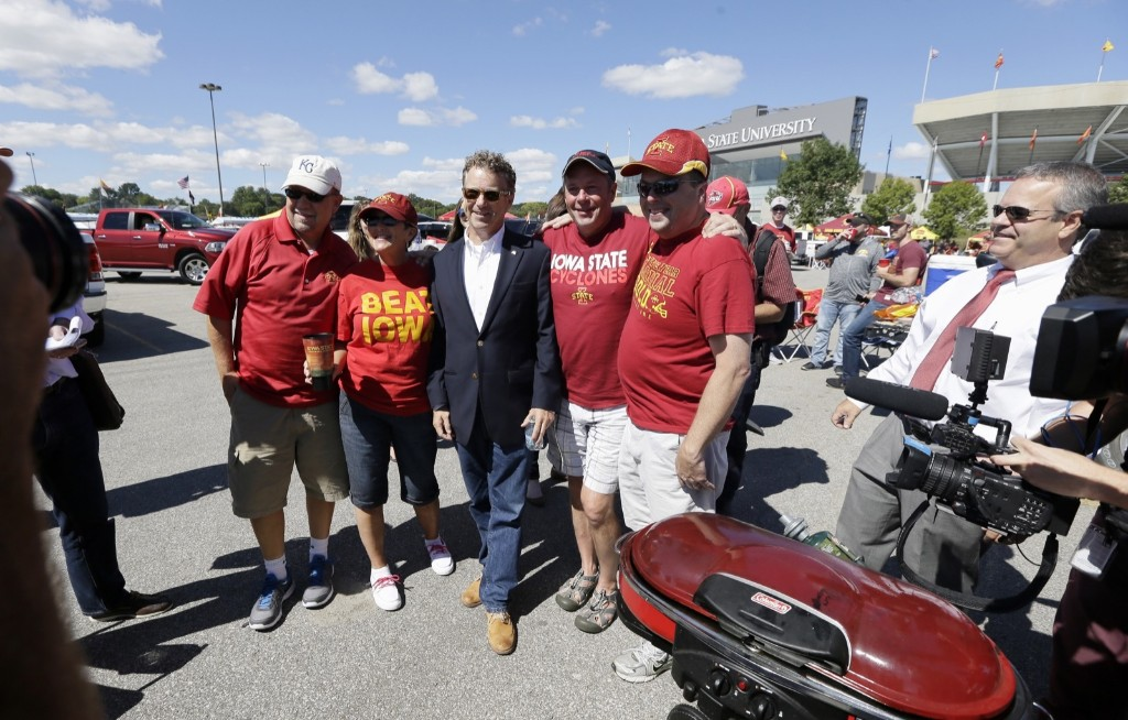 Republican presidential candidate Rand Paul before college football game between Iowa and Iowa State, Saturday. AP Photo/Charlie Neibergall