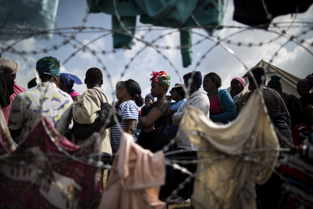 Displaced people who fled anti-immigrant violence, at a camp near Johannesburg. MARCO LONGARI/AFP/Getty Images