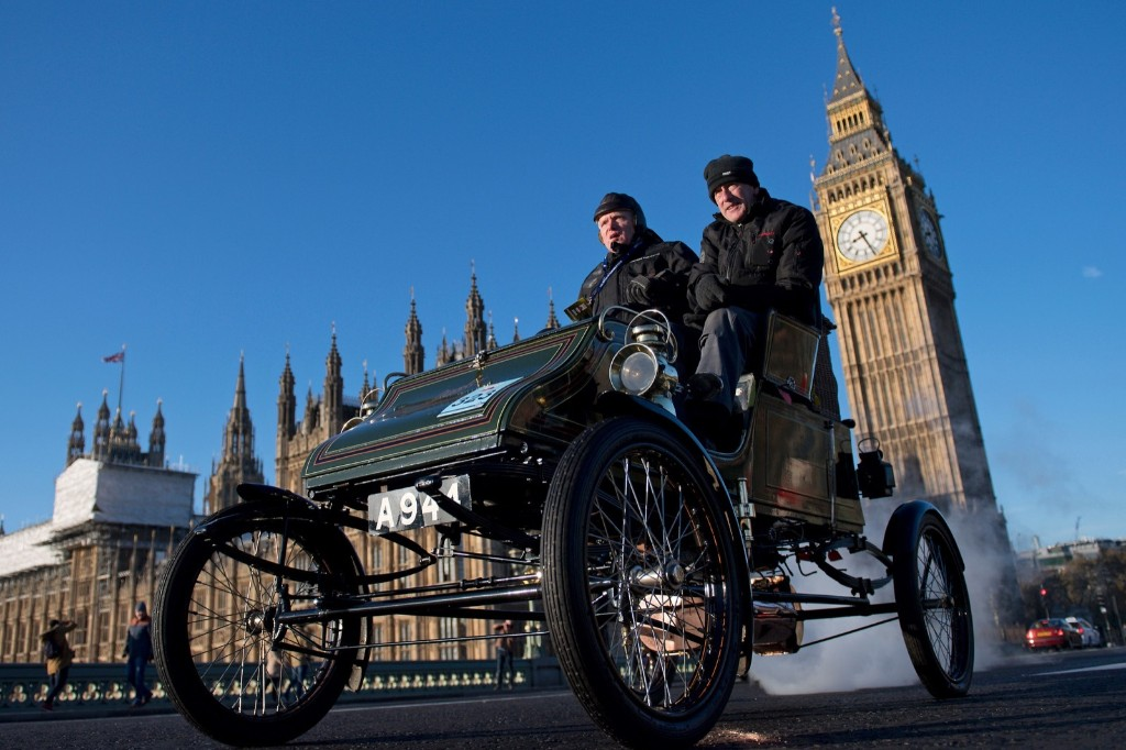 A vintage car driven past the Houses of Parliament in Westminster shortly after beginning the 120th 'Veteran Car Run' from Hyde Park to Brighton. JUSTIN TALLIS/AFP/Getty Images