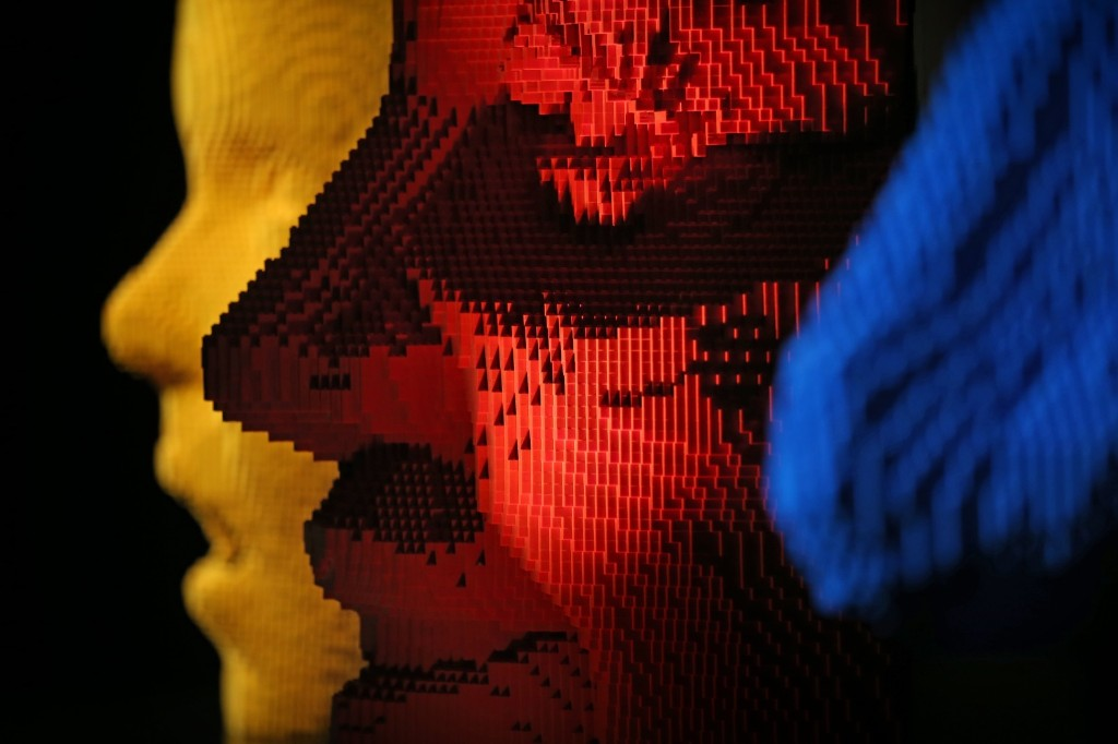 Lego sculptures 'Yellow Facemask, Red Facemask and Blue Facemask'. Peter Macdiarmid/Getty Images