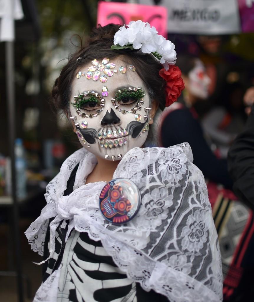 Part of the Catrinas parade along Reforma Avenue in Mexico City. RODRIGO ARANGUA/AFP/Getty Images