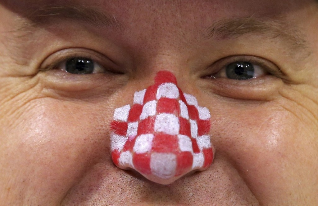 A supporter of Croatia before quarterfinal match of the Men's Handball World Championship in Doha. REUTERS/Fadi Al-Assaad