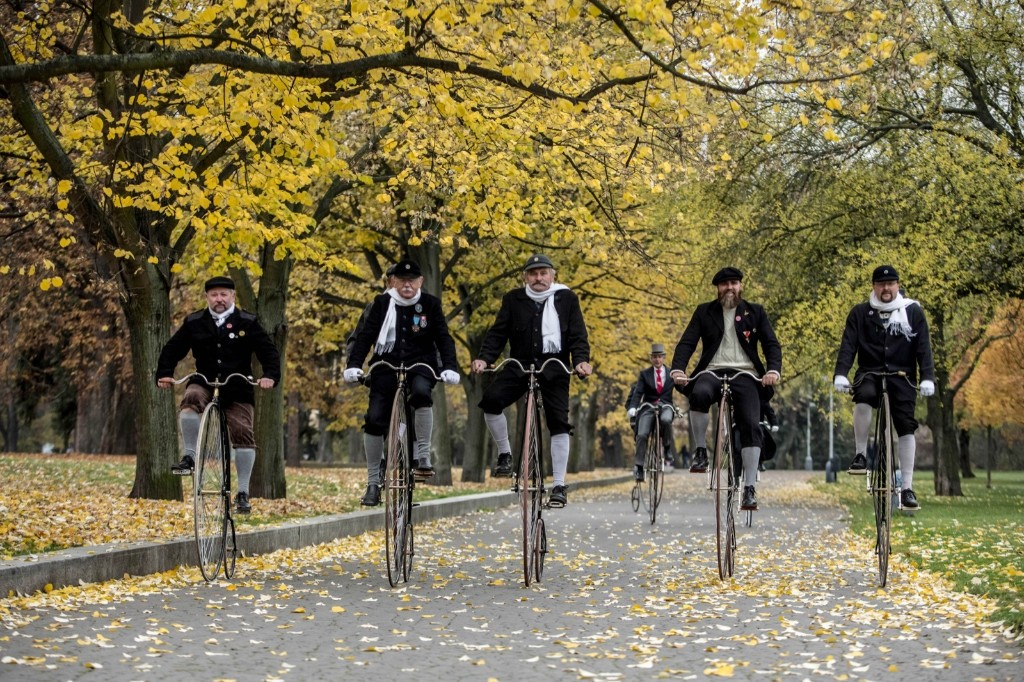Enthusiasts wearing historical dress ride high-wheel bicycles during the traditional 'Prague Mile' race in Prague. The Czech high-wheel bicycles club was founded in 1880. Matej Divizna/Getty Images