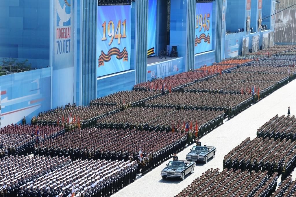 Ceremonial soldiers during military parade in Moscow to mark the 70th anniversary of victory in WW II. RIA Novosti via Getty Images
