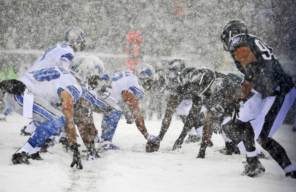Lions quarterback Matthew Stafford gets ready to snap ball in blizzard conditions in Philadelphia Sunday. Jeffrey G. Pittenger-USA TODAY Sports