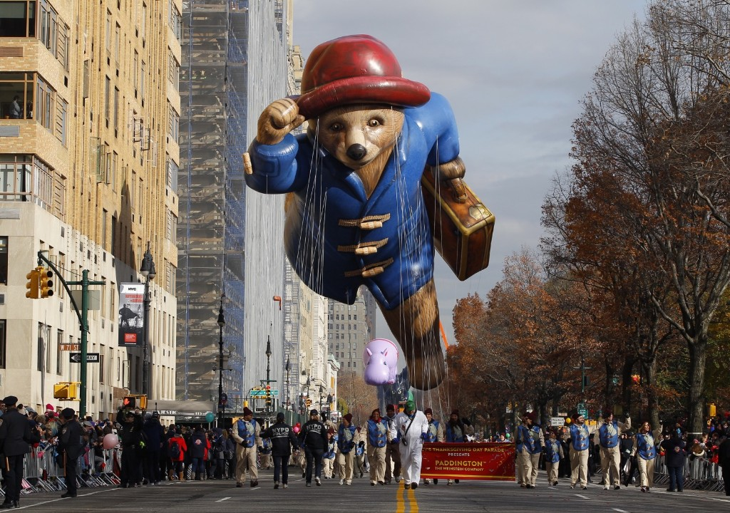 The Paddington balloon floats down Central Park West in the Macy's Thanksgiving Day Parade in New York, Thursday. Photo by Gary Hershorn