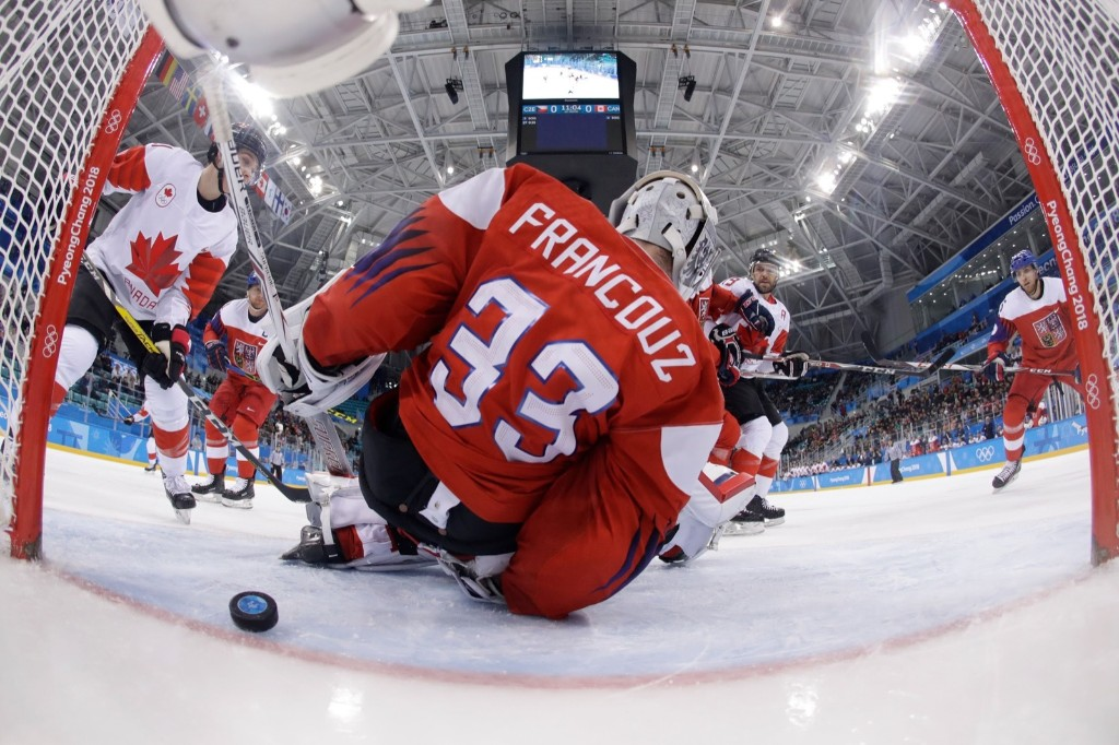 Czech Republic's Pavel Francouz lets in a goal in the men's bronze medal ice hockey game against Canada. AFP/Getty Images/Pool