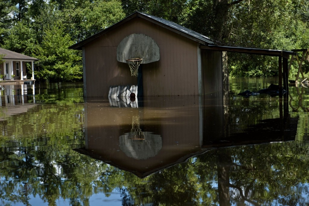 Homes in Gonzales, La., after record rains. BRENDAN SMIALOWSKI/AFP/Getty Images