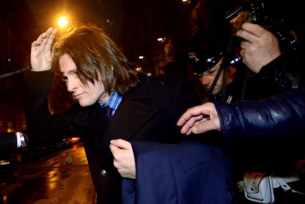 Raffaele Sollecito leaves Italy's Supreme Court in Rome on March 25, 2015. FILIPPO MONTEFORTE/AFP/Getty Images