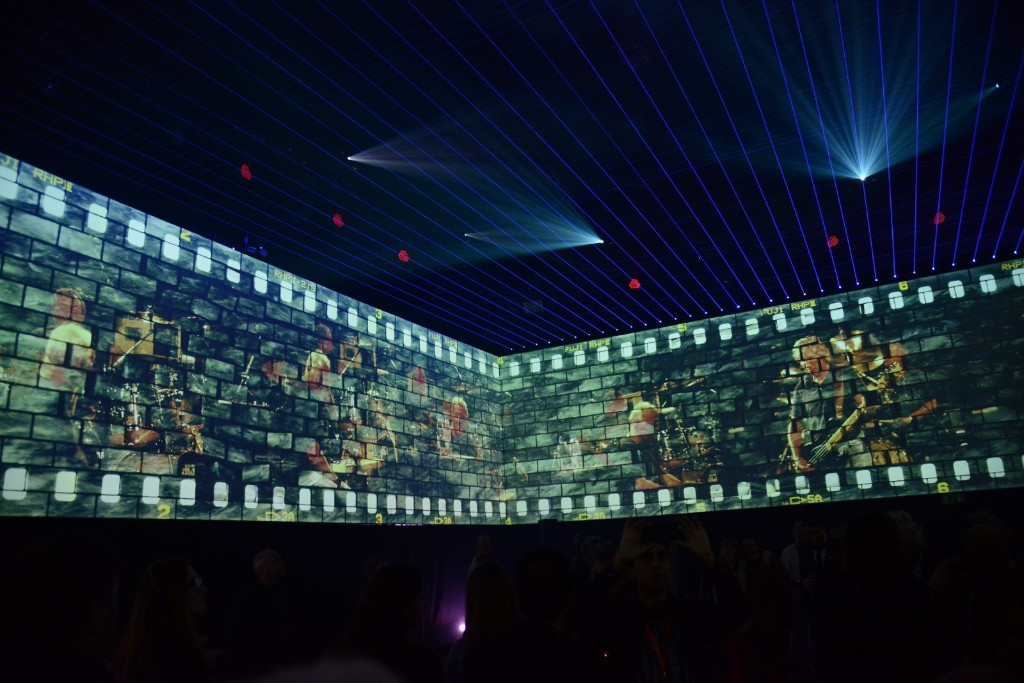 Concert footage at The Pink Floyd Exhibition: 'Their Mortal Remains'. Dave J Hogan/Getty Images